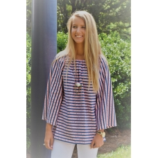 Erma's Closet Navy and Orange Rope Print Tunic